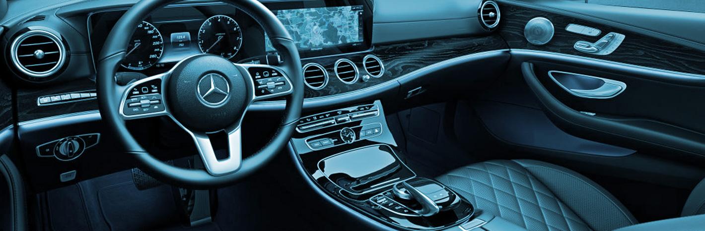 Vue intérieur du Mercedes class E utilisée par Taxi LC service